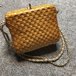 Vintage Rodo Straw Basket Weave Hard Shell Bag